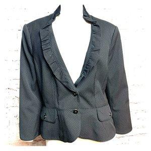 WHBM Size 14 chic Black Blazer Ruffle Collar #504